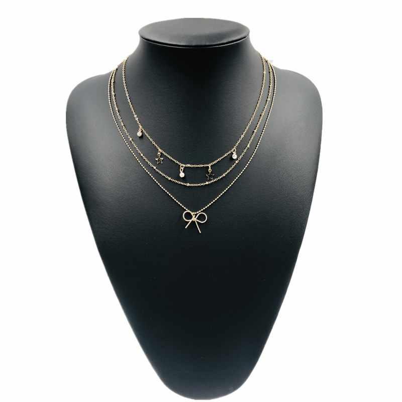 ホット販売三層弓ネックレス女性ロングネックレスボヘミアンスタイルための誕生日プレゼント