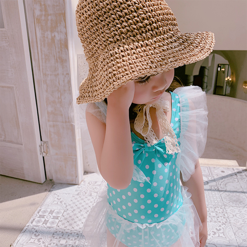 2019 New Style Hot Sales KID'S Swimwear One-piece Dots Flounced Gauze Bow Little Princess Girls Swimwear