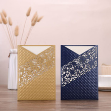 50pcs Blue Gold Laser Cut Flora Wedding Invitations Card Lace Rose Greeting Cards Customize Birthday Party Decoration