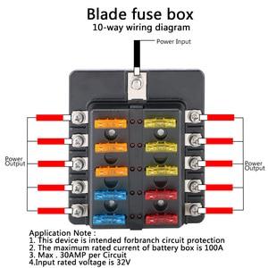 Image 4 - 32V 100A 8 Ways 10 Ways Blade Fuse Block Circuit insurance For Auto Car Marine M5 Stud With LED Indicator Light Fuse Box Holder