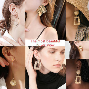 Vintage Earrings Geometric Fashion Jewelry Trend Gold Women Metal for Statement Pendant