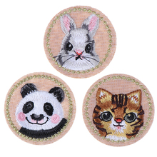 1PC Animal Patch Panda Rabbit Cat Cartoon Embroidery Iron on DIY Clothing Badge Sewing Stickers