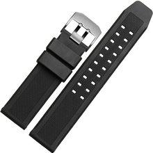 Ремешок силиконовый для часов Luminox, мягкий черный спортивный браслет для дайвинга, 23 мм