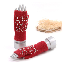 Зимние вязаные перчатки, плюшевые перчатки для женщин, короткие перчатки на палец, женские перчатки с наполовину покрытием, женские перчатки с рисунком