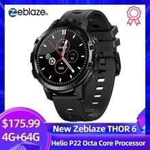 2020 Nieuwe Zeblaze Thor 6 Smart Horloge Mannen Helio P22 Octa Core Processor 4Gb + 64Gb Android 10.0 gezicht Id 4G Lte Gps Wifi Smartwatch