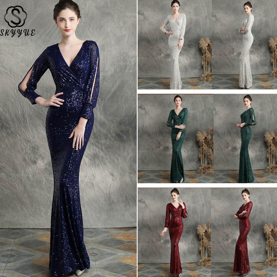 Evening Dress Elegant Skyyue EDX240 Long Sleeve Evening Gown Mermaid V-neck Special Occasion Dresses Sequins Vestidos De Fiesta