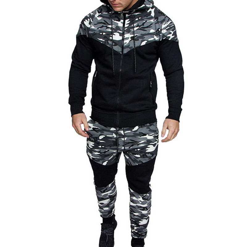 2019 New Men Causal Camouflage Print Patchwork Sets 2 Pc Tracksuit Male Hoodies Sweatshirt Tops + Pants Sports Suit Sportswear