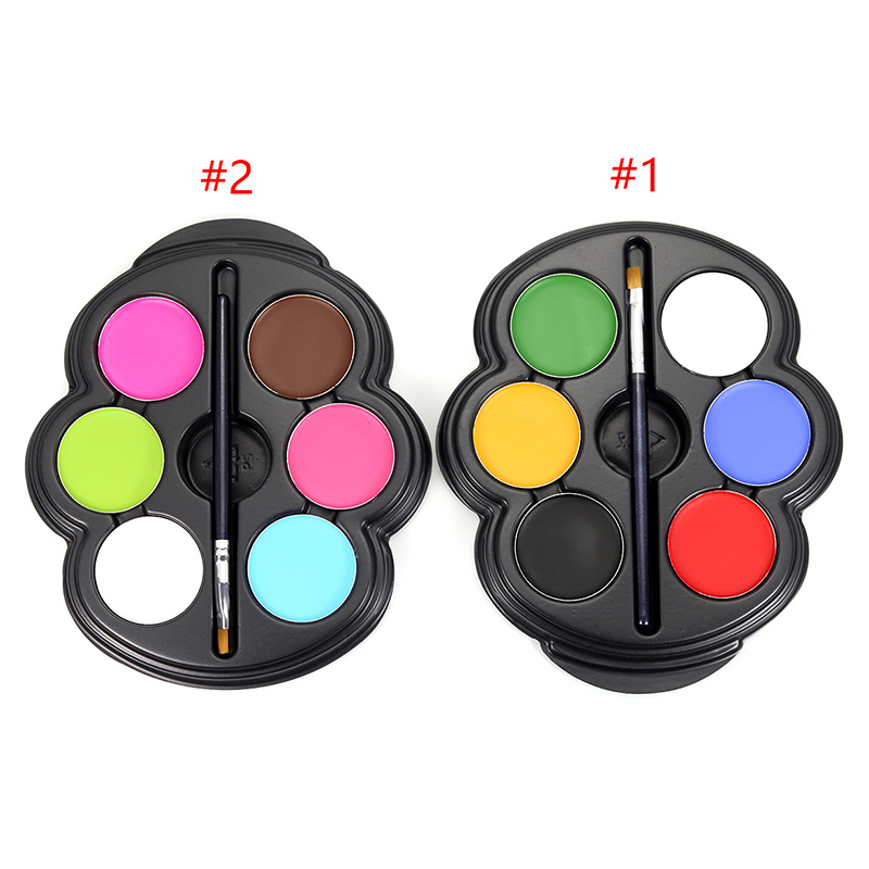 6 Colors Face Painting Body Makeup Painting Pigment Palette With Paintbrush For Halloween Party Fancy Dress Beauty Makeup Tool