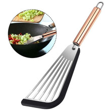 Fish Spatula Metal Stainless Steel Blade With Wooden Handle Fish Tuner Utensils For Kitchen Cooking Tool #42