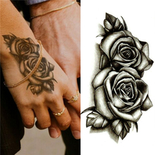 Fashion Waterproof Temporary Tattoo Sticker Black Double Rose Flowers Tattoos Fake Body Art Water Transfer