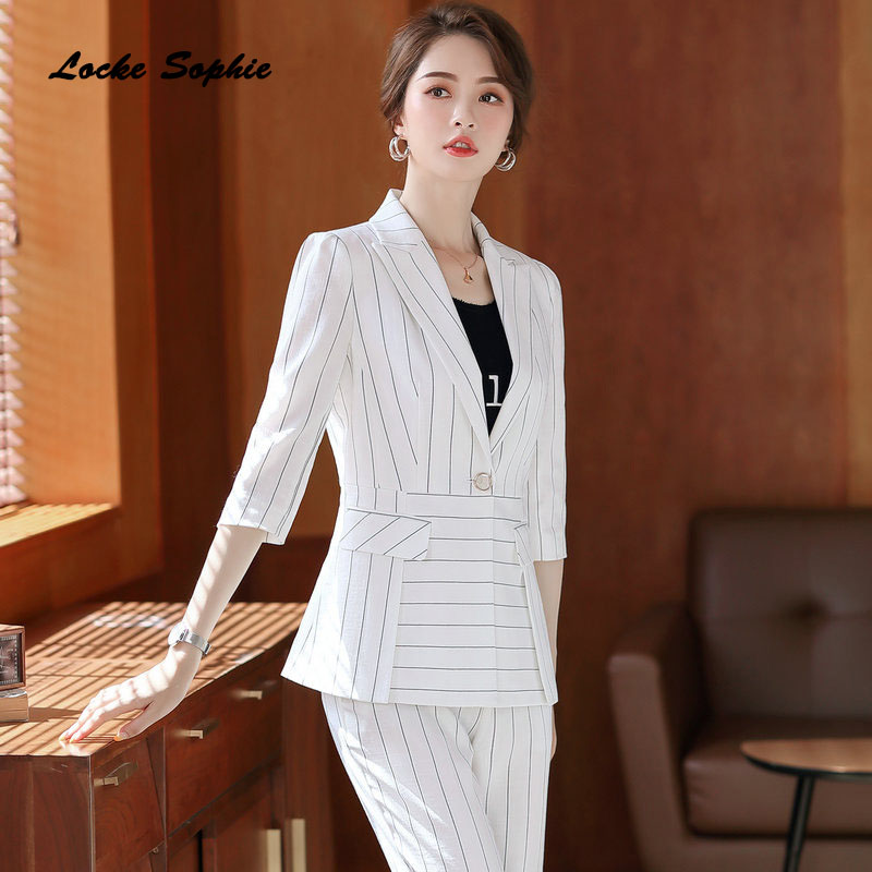 Womens Plus Size Blazers Coats 2020 Spring Cotton Stripe Middle Sleeve Slim Fit Suits Jackets Ladies Skinny Office Blazers Suits