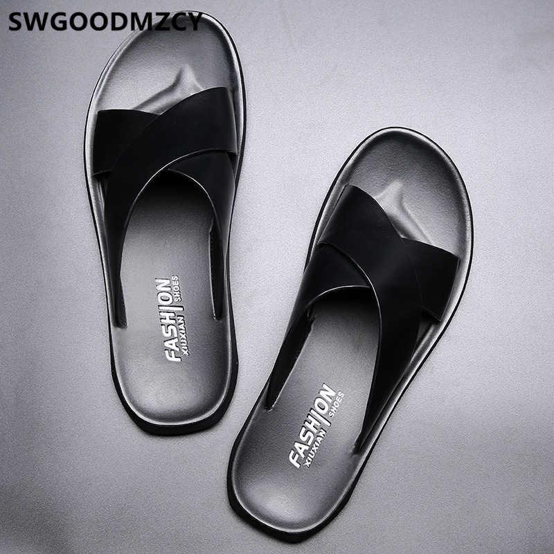 革のスリッパ夏の靴メンズスリッパ屋外浜のスリッパ靴 + 男性 zapatos デ hombre erkek ayakkabi buty meskie