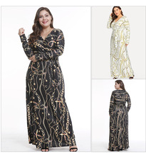Plus Size Autumn Bandage Printed Waist Dress For Women Long-sleeve V-neck Sexy Ladies A-Line Large Female