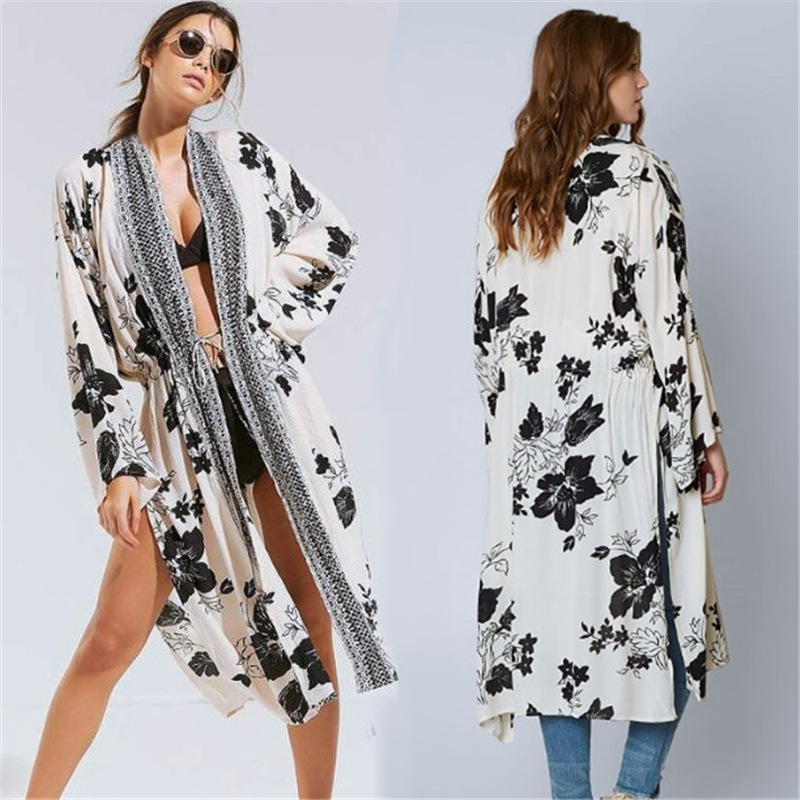 Europe And America Cotton Black Leaf Printed Cardigan Beach Skirt Loose And Plus-sized Holiday Skirt Bikini Cover-up Sun Shirt W