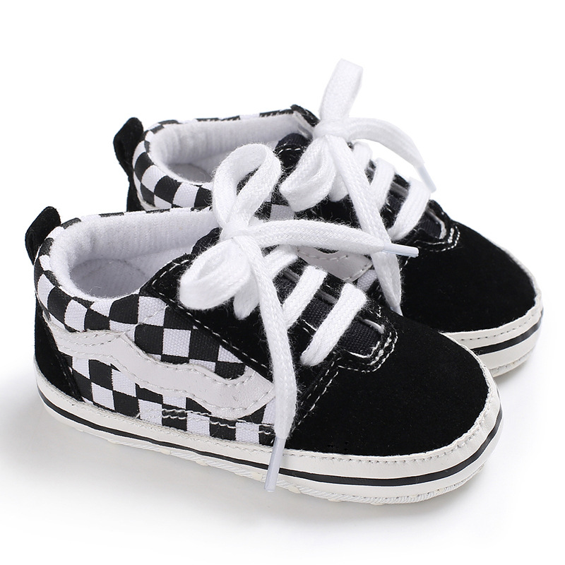 Cute Toddler Kids Canvas Plaid Sneakers Baby Boy Girl Soft Sole Crib First Walker Shoes Anti-slip Lovely 0-18Months