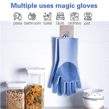 Magic Silicone Dishwashing Gloves Cleaning Scrubbing-Dish Wash Silicone Sponge Gloves with Scrubber magic cleaning sponge gloves with soft bristles reusable silicone brush heat resistant scrubber gloves for kitchen bathroom
