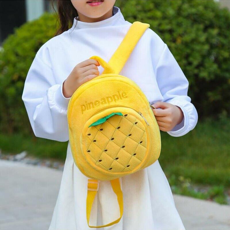 New Cute Pineapple Kids Plush Backpack Toy Mini School Bag Children's Gifts Boy Girl Baby Student Bags Lovely