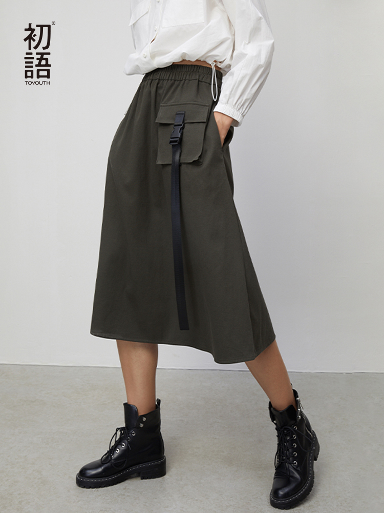 Toyouth 2020 Fashion Cotton Simple High Waist Skirts A-Line Casual Ladies Trendy Knee Length Female Skirts Hong Kong Design