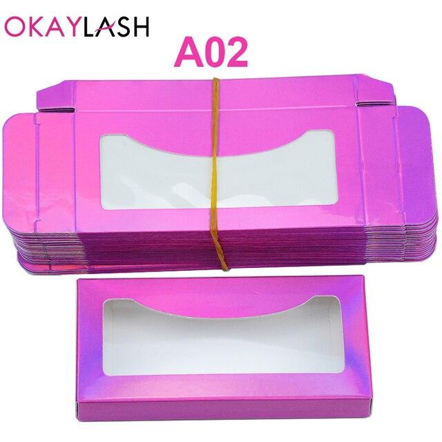 OKAYLASH Newes 50/100pcs Carton Paper Packing Box  for 25mm long EyeLash Wholesale Bulk Cheap Pretty Lashes Storage Packaging 3