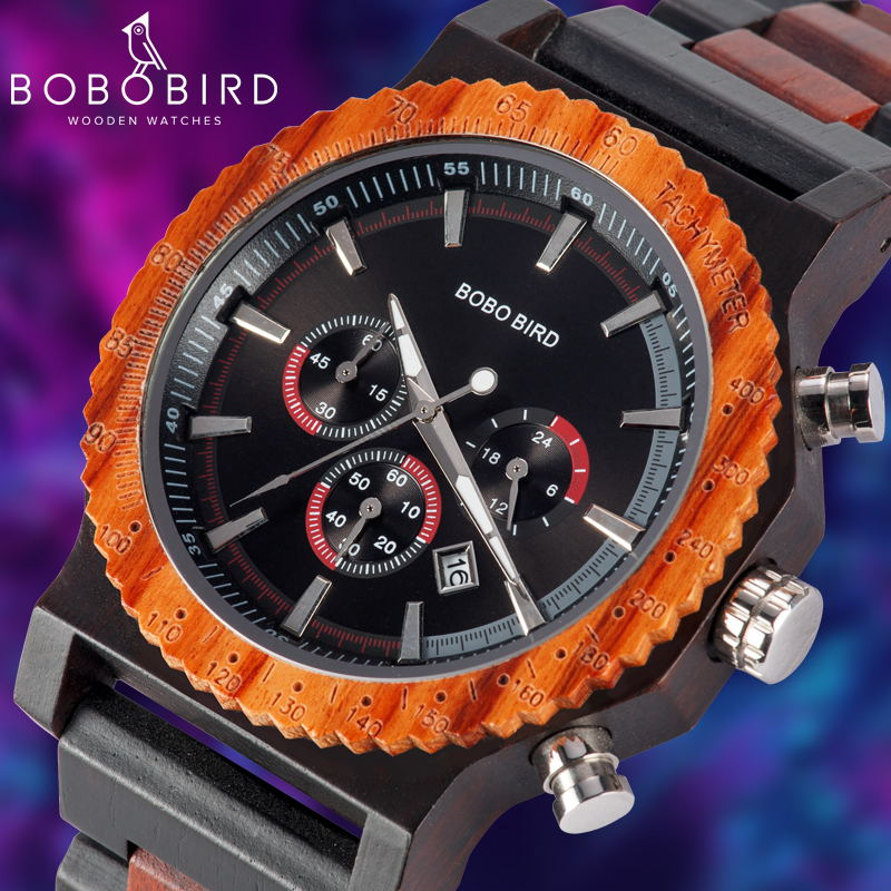 BOBO BIRD 51mm Big Size Men Watch Wood Luxury Chronograph Wristwatch Quality Quartz Movement Calendar Relogio Masculino J-R15