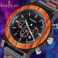 BOBO VOGEL 51mm Große Größe Männer Uhr Holz Luxus Chronograph Armbanduhr Qualität Quarz Bewegung Kalender Relogio Masculino J R15-in Quarz-Uhren aus Uhren bei