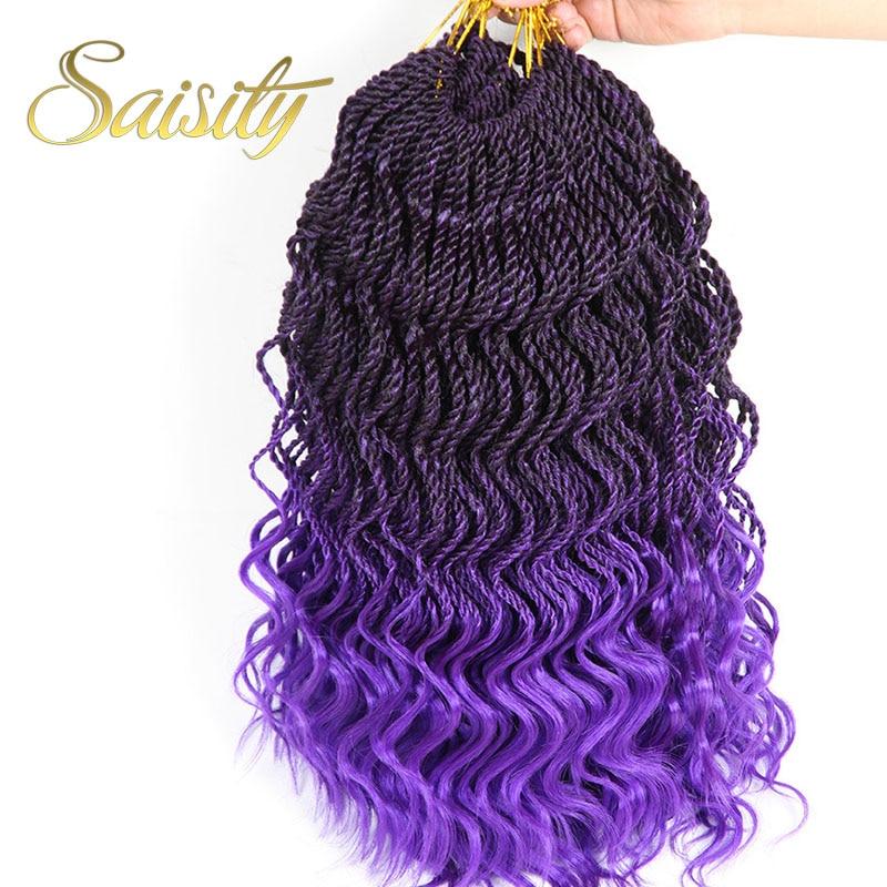 Saisity Senegalese Twist Crochet Hair Purple Ombre Braiding Hair Wave Ends Synthetic New Style Thin Crochet Braids Jumbo Bundles