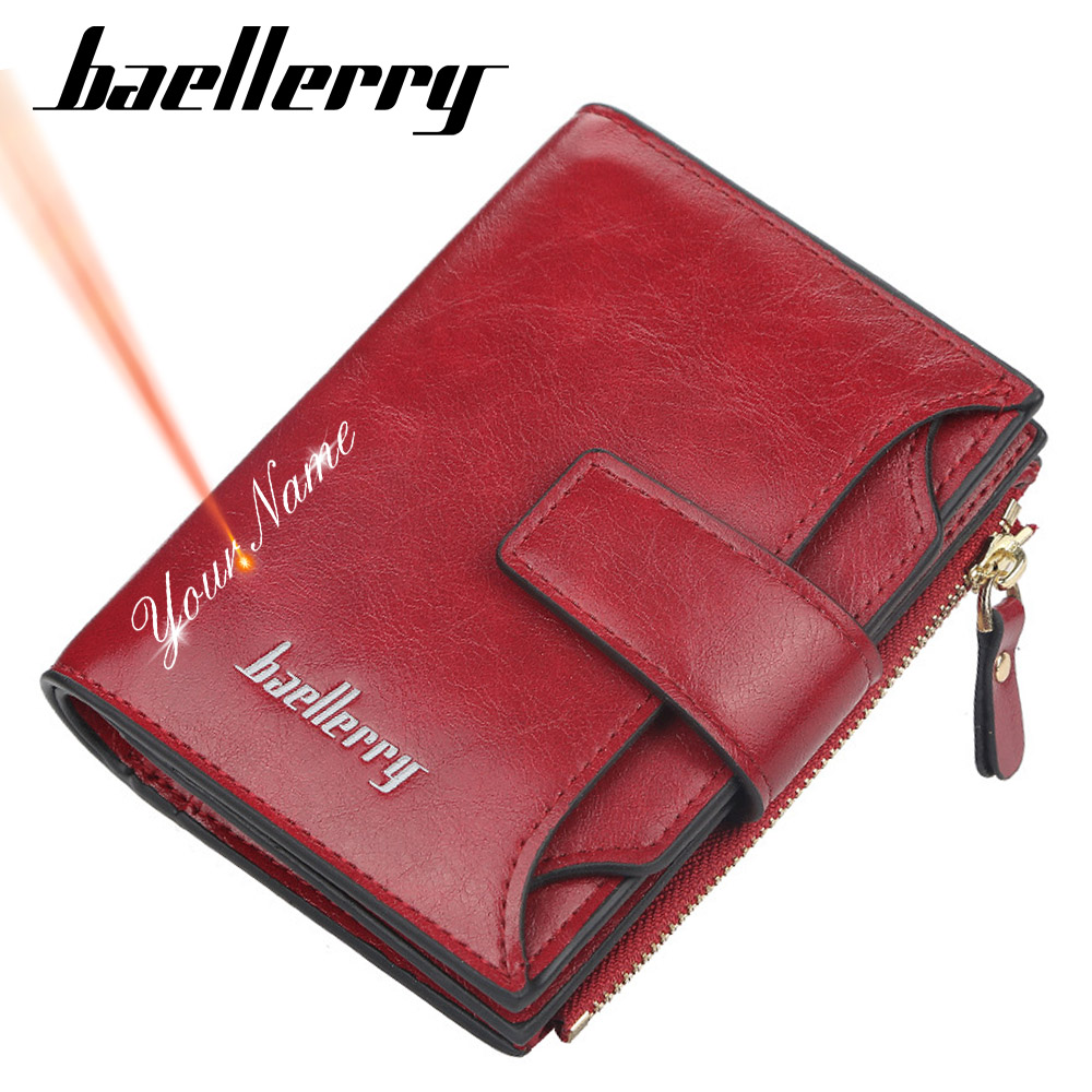 2020 New Customized Women Wallets Name Engraving High Quality  Short Card Holder Female Purse Coin Holder Wallets For Girl