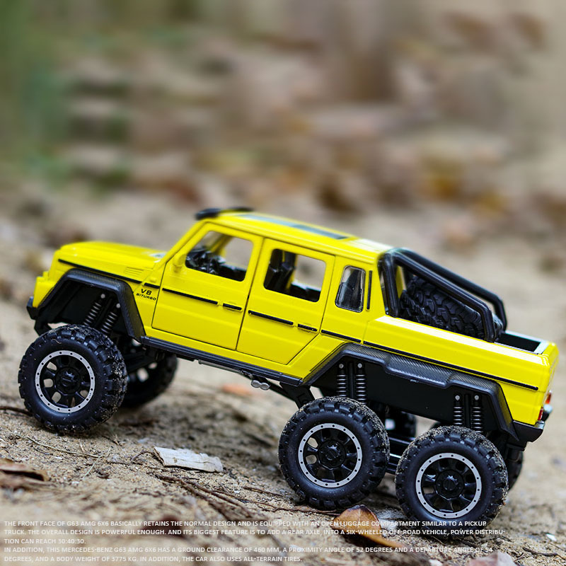 1:32 Scale AMG G63 6X6 PickUp SUV Off Road Metal Alloy Car Model Diecast Vehicles Car Toys For Children Kids Gifts