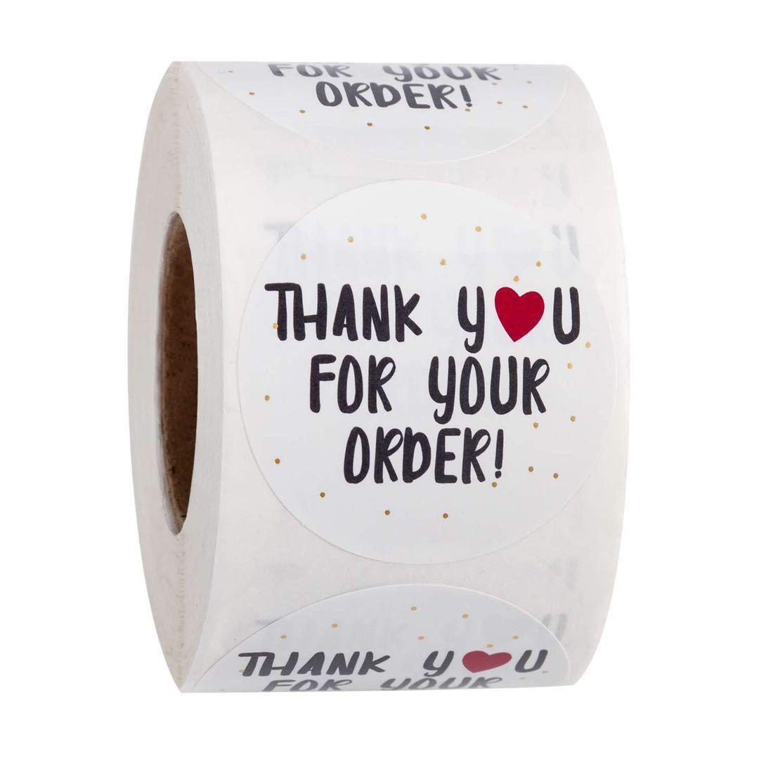 500 stücke/rolle Danke Aufkleber Handgemachte Aufkleber Kreis Schreibwaren Danke für Ihre Auftrag Dichtung Etiketten Danke aufkleber