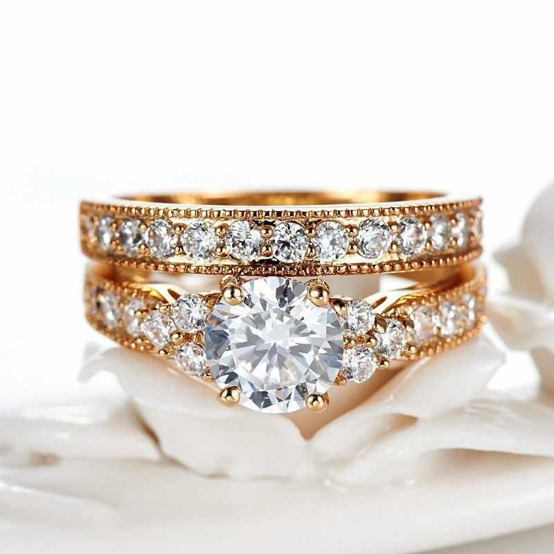 Con il Certificato Originale di 100% 925 Solido Argento Anelli Set Per Le Donne 2.0ct Naturale Zirconia Puro Oro Anelli di Nozze Set per sposa