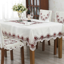 Waterproof Oil Proof PVC Table Cloth Embroidered White Lace Hollow Tablecloth Jacquard Polyester Home Dining Kitchen Cover