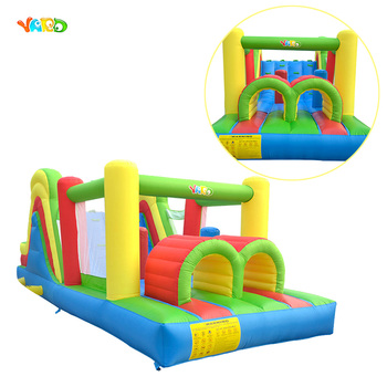 YARD Inflatable Bounce House Slide Jumping Bouncy Castle House With Air Blower For Kids 6.5x2.8x2.4m Giant Obstacle Course t317 free shipping air blower inflatable jumping castle soccer football shape inflatable bouncer jumping bounce house for sale