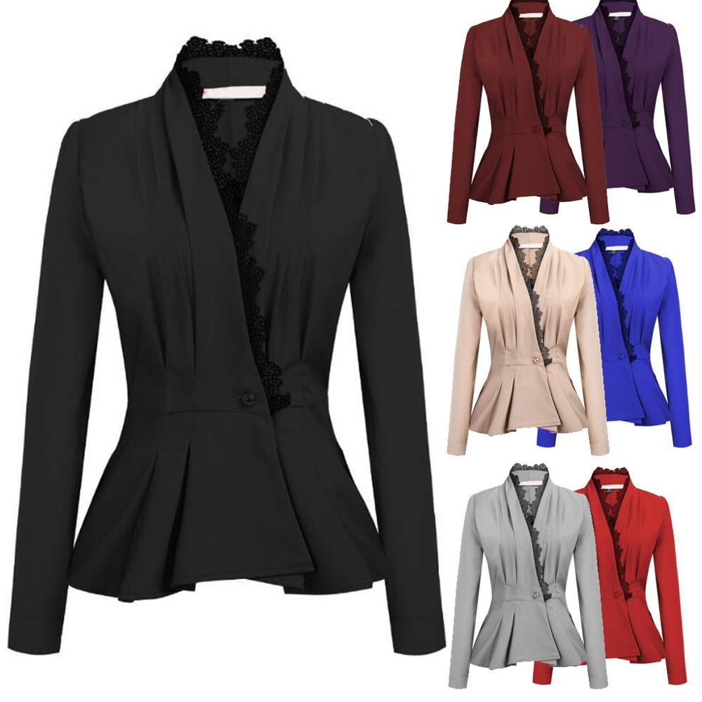 Suit Coat Blazers Lace Patchwork Long-Sleeve Jacket3xl Ol-Style Elegant Office Lady Plus-Size