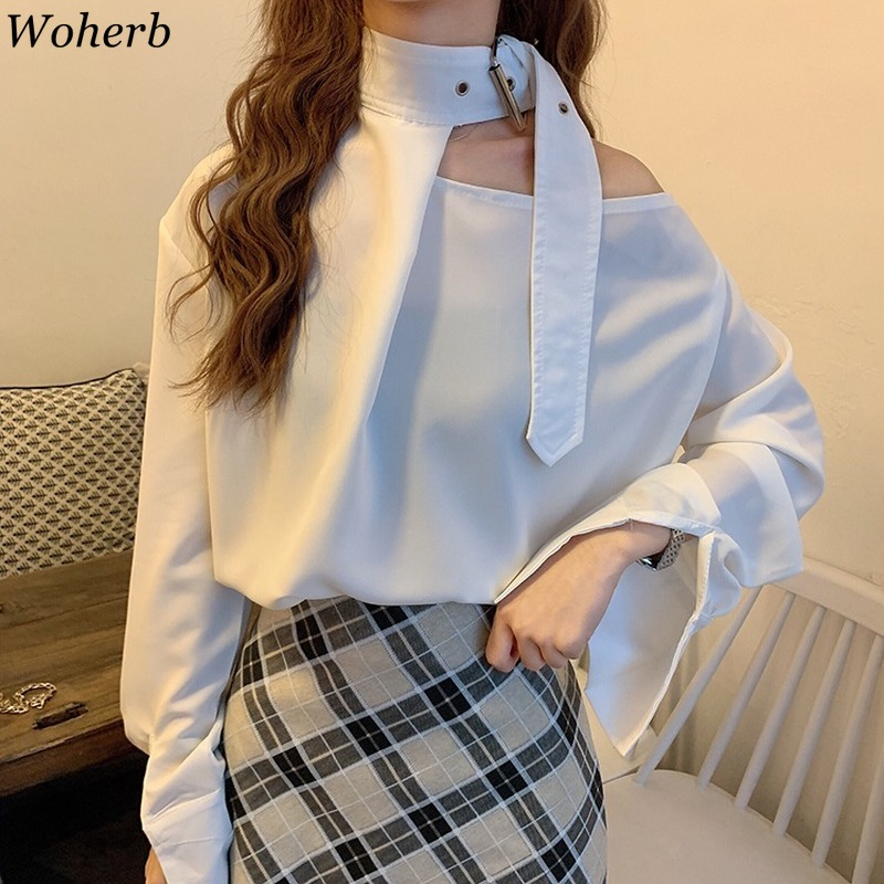 Woherb New Arrival Solid Color Long Sleeve One Shoulder Off Chiffon Blouse Casual Loose Shirts Korean Fashion Blusas Mujer 91521