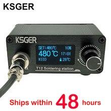 KSGER Mini estación de soldadura T12 DIY STM32 OLED V2.01, controlador con mango de 907, Kits de carcasa de aleación de aluminio, herramientas de soldadura T12, puntas de hierro