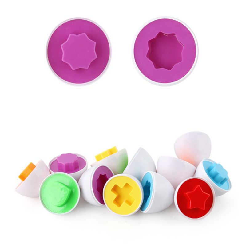 6PCS Montessori การเรียนรู้การเรียนรู้คณิตศาสตร์ของเล่นสมาร์ทไข่ 3D เกมปริศนาเด็กของเล่นยอดนิยมจิ๊กซอว์รูปร่างผสมเครื่องมือ