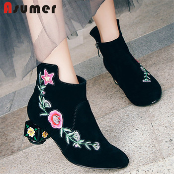 ASUMER 2020 new hot ankle boots women embroider round toe short boots autumn winter unique high heels party wedding shoes woman