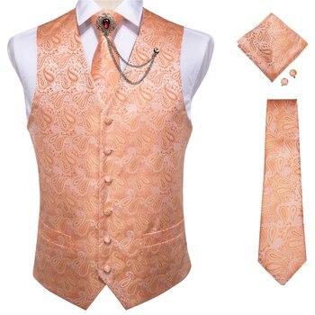 New Teal Green Paisley 100% Silk Formal Dress Vest Men Waistcoat Vest Wedding Party Vest Tie Brooch Pocket Square Set DiBanGu 28