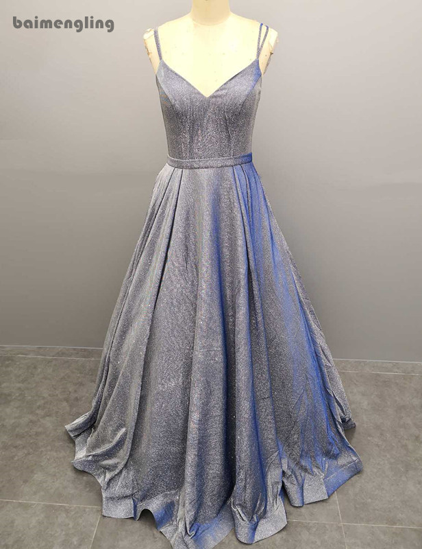 simple evening dress, spaghetti straps A-line cheap dress