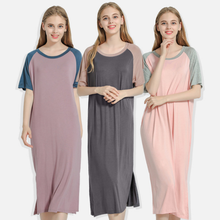 Summer Women Casual Dress Patchwork Nightgowns Home Clothes Women's Summer Long Shirt Plus Size Short Sleeve Dresses Wome WF080