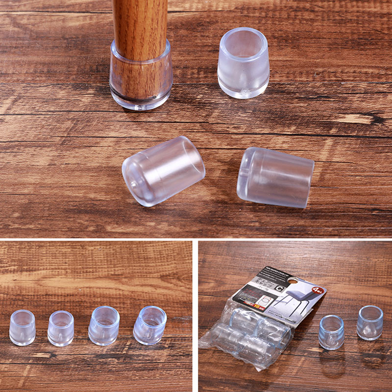 8pcs/lot Clear Rubber Table Chair Leg Silicone Cap Pad Furniture Table Feet Cover Anti-noise Floor Protector Caps End Cap