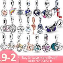 Hot Sale 925 Sterling Silver Stork & Twinkling Stars Dangle Charm fit Original Pandora Charm Bracelet S925 Silver Jewelry Gift