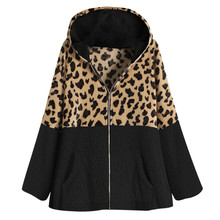 Abrigo mujer cremallera leopardo Patchwork bolsillo polar cálido más tamaño 5XL abrigo invierno chaqueta Casual Top # YJ2