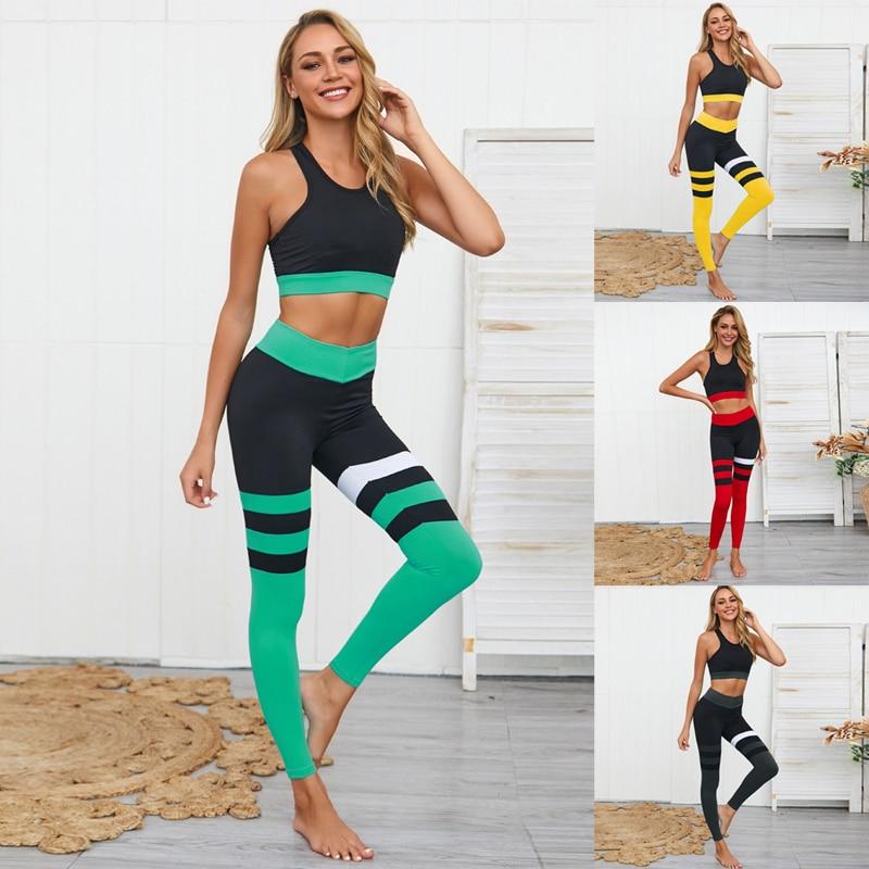 Набор для тренировок и йоги, 2 шт., одежда для женщин, набор для йоги, костюм для фитнеса, женская спортивная одежда, спортивная одежда для жен...