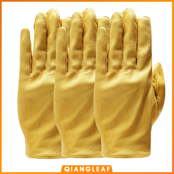 QIANGLEAF 3pcs New Yellow Work Drivers Gloves Gardening Household Work Cowhide Leather Safety Working Glove Men&Women 130NP qiangleaf 3pcs new free shipping protection glove d grade cowhide yellow ultrathin leather safety work gloves wholesale 527np