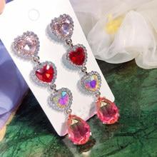 MENGJIQIAO gran oferta coreano de lujo corazón rojo cristal largo Pendientes para Mujer de Moda elegante gota de colores Pendientes de joyería