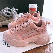 Autumn Spring New Designer Wedges Pink Platform Sneakers Women Vulcaniz