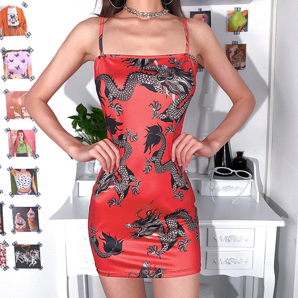 Ha1f683a0703e47c7bd5e1556edbd28f94 Harajuku Summer women's girls dress Fashion Women Sexy Off Shoulder Dragon Print Strap Casual Night-club Mini party Dress 2019