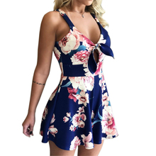 Women Casual Jumpsuit Hollow Out Front Bowknot Flower Print Spaghetti Strap Beach Rompers fashionable ethnic style print spaghetti strap jumpsuit for women