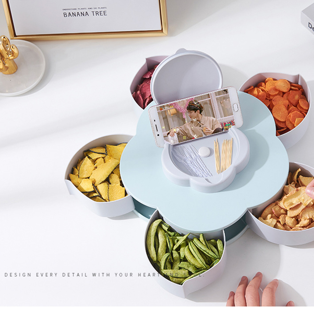 Container Storage-Box Desktop-Organizer Rotating Creative Snack Nuts-Case Fruit-Plate